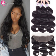 Raw Indian Remy Hair Body Wave Bundles With Frontal Top 100% Human Hair Natural Hairline Lace Frontal Closure With Bundles Deals(China)