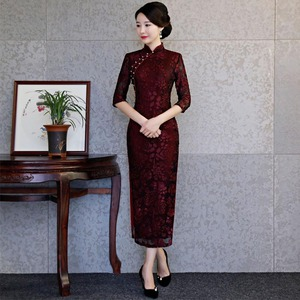 Image 4 - Vestido de Boda China de encaje negro 2020, Qipao largo ajustado para mujer, vestido tradicional chino para fiesta de boda