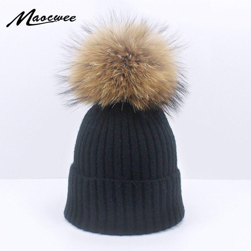 Female Pompon Hat Cap Autumn Winter Real Fur Pom Pom   Skullies   Crochet Soft Solid Black Pink Gray Hats Pom Pom   Beanie   Hat Bone