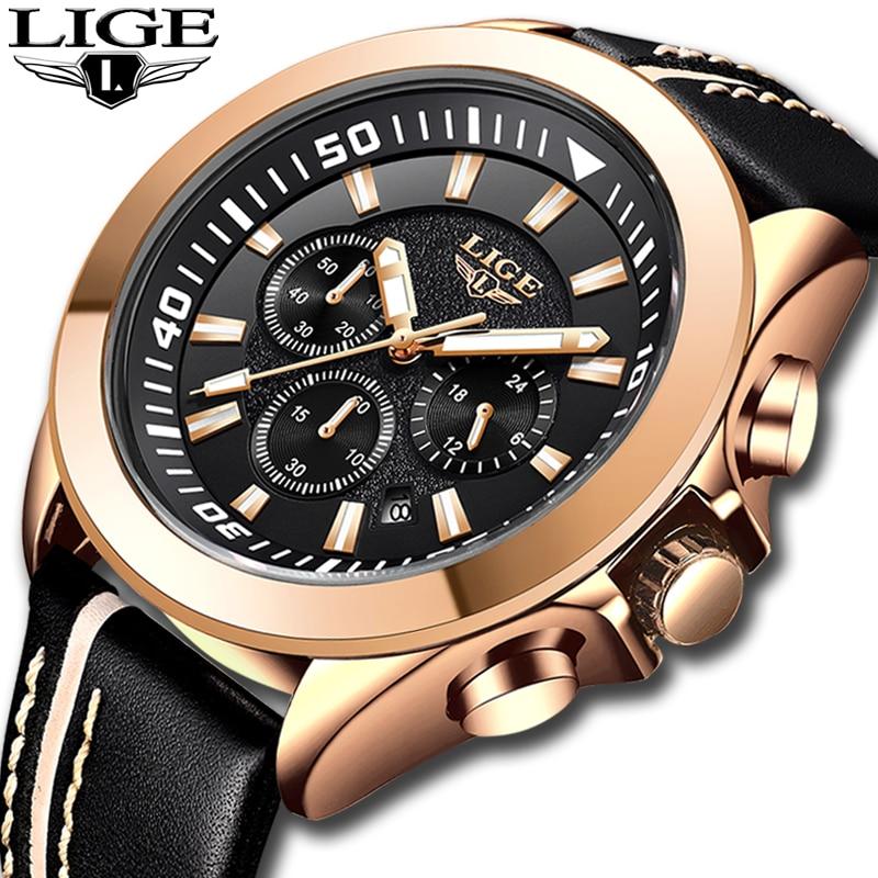 2018 New LIGE Men's Watches Male Leather Automatic Date Quartz Watch Mens Luxury Brand Waterproof Sport Clock Relogio Masculino Quartz Watches     - title=