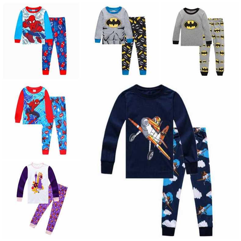 Cartoon girl boy bông Đồ Ngủ đặt toddler ngủ siêu anh hùng pijamas Trẻ Em bé dài tay Pyjamas phù hợp với quần áo