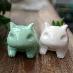3D Cute Mini Ceramic Flowerpot Bulbasaur Frog Planter White Green Succulent Plants Flower Pot Hole
