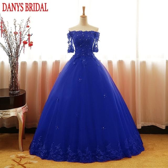 227d4ee06 Vestidos de Quinceañera de tul azul real 2017 de hombros descubiertos con mangas  vestido de baile