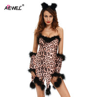 Fantasias Sexy Erotic Halloween Costumes For Women Sexy Sleeveless Fluffy Leopard Costume Set Deguisement Adultes