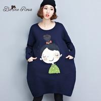 BelineRosa Büyük Boyutları Kadın Elbiseler Kore Tarzı Sevimli Kız Gevşek Hem Kış Kısa Elbise Kadınlar FIT XL ~ 5XL TYW124