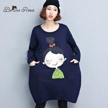Belinerosa больших размеров Для женщин Платья корейский стиль милый Обувь для девочек свободные Подол зима короткое платье; Для женщин Fit XL ~ 5XL TYW124