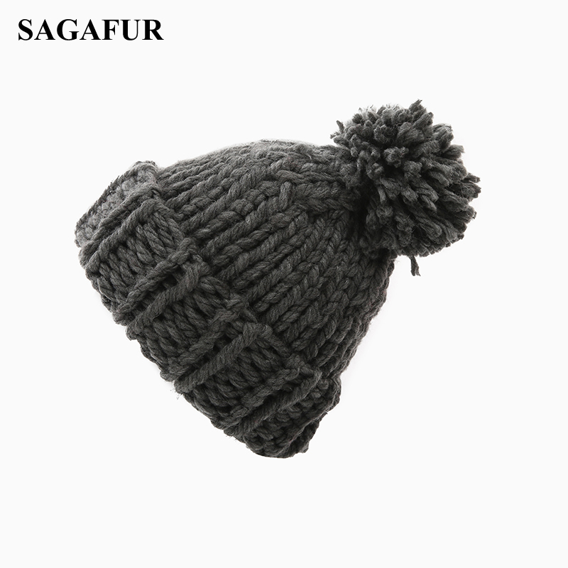 Cable Knitted Hat Female Pompoms Crochet Hat For Girls Warm Cap Women's Winter Beanies Ski Hat Bonnet Elegant Skullies Beanies