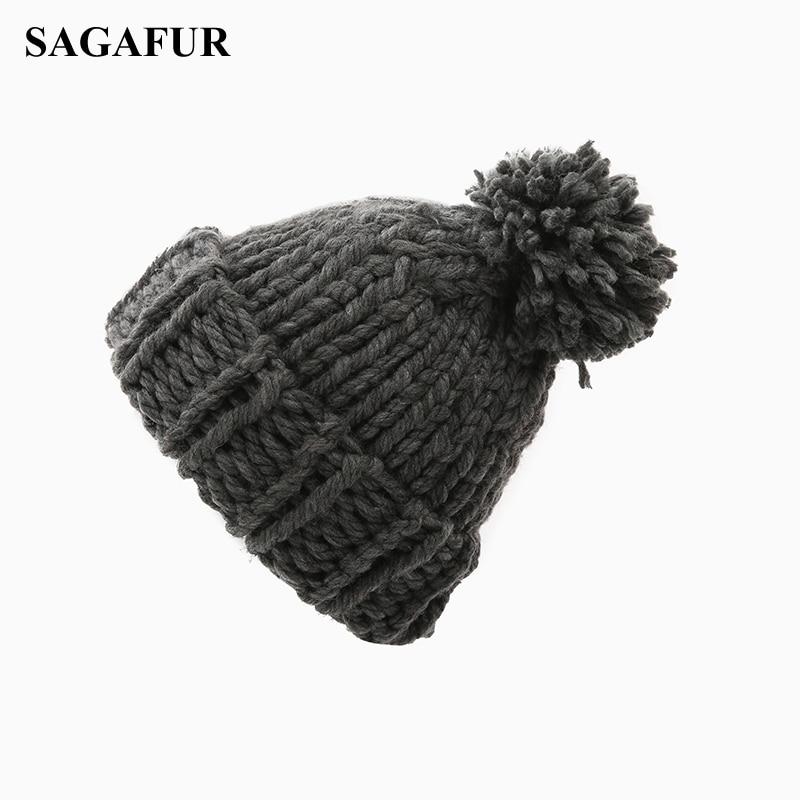 Cable Knitted Hat Female Pompoms Crochet Hat For Girls Warm Cap Women's Winter Beanies Ski Hat Bonnet Elegant Skullies Beanies
