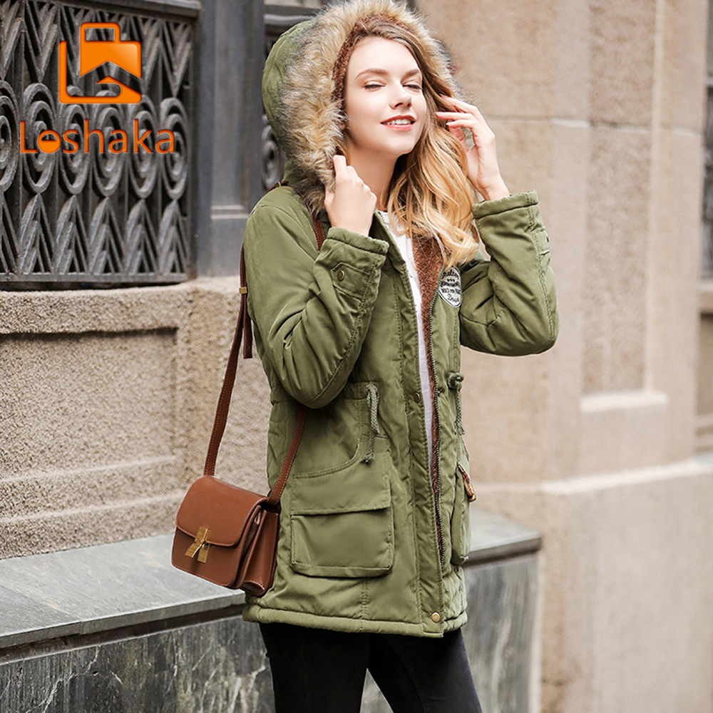 LOSHAKA Autumn Winter Jacket Women   Parka   Warm Jackets Fur Collar Coats Long   Parkas   Hoodies Office Lady Cotton Plus Size 2018