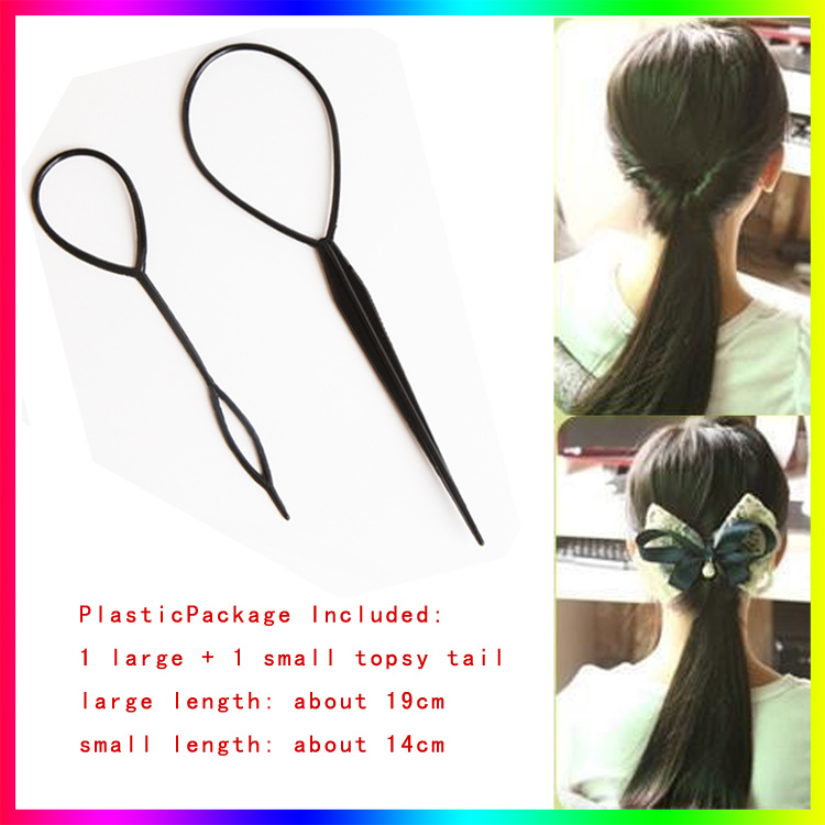 Original Fashion 4pcs Hair Accessories Plastic Magic Topsy Tail Hair Ponytail Braider Styling Maker Tools Solid Black Plate Portable Pins Apparel Accessories