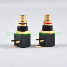 цена на 1pair Gold Plate RCA Audio Plug PCB Mount Jack Male Solder Locking Audio Grade Connector