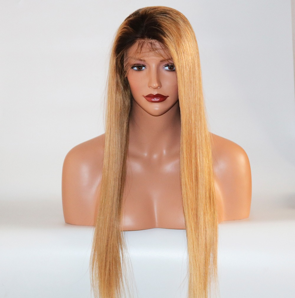Eversilky Ombre Blonde #1B/27 360 Lace Frontal Wig With Baby Hair Bleached Knots Brazilian Hair Honey Blonde 360 Frontal Wigs