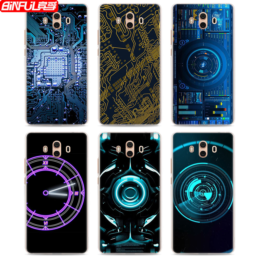 Binful Hot Sale Electronics Circuit Board Style Hard Transparent Electronic Design Phone Cover Case For Huawei Mate10 Lite P10 P8 P9 In Half Wrapped From