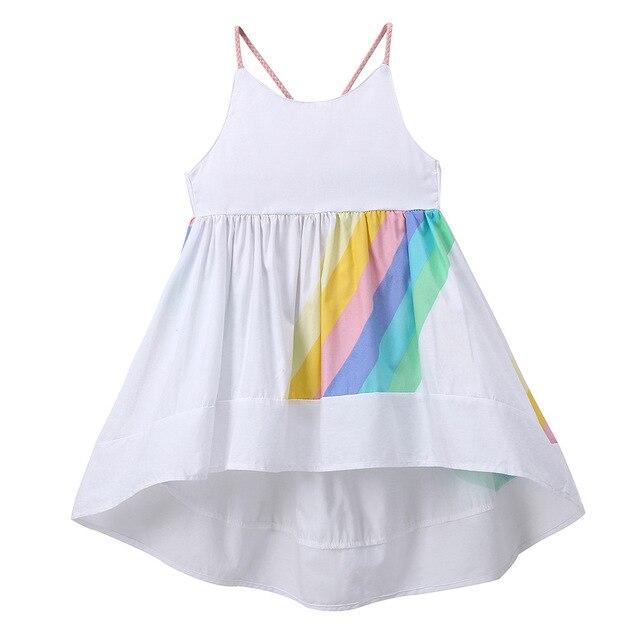 fc00274ee972 Princess Rainbow Dress Summer Girls Sleeveless Fashion White Long Dresses  Cute Kids Clothes 2018 Holiday Beach Dress Rapunzel 2y
