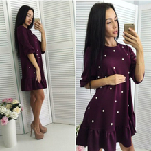 Shyloli 2017 Autumn New Style Women Casual Half Sleeve O-neck Beading Ruffle Loose Dress Plus Size XL Mini Dresses