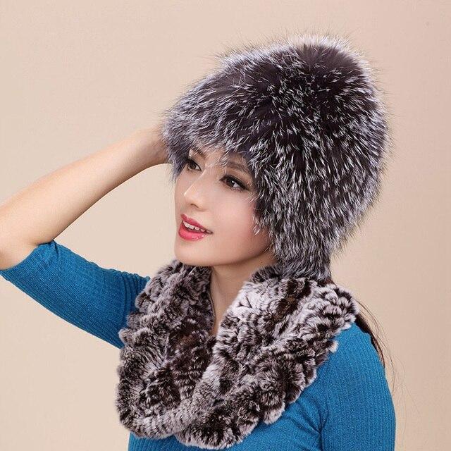 GTC139 Free shipping luxury fashion thermal winter warm genuine silver fox fur beanie cap womens real fur stretchable ski hat