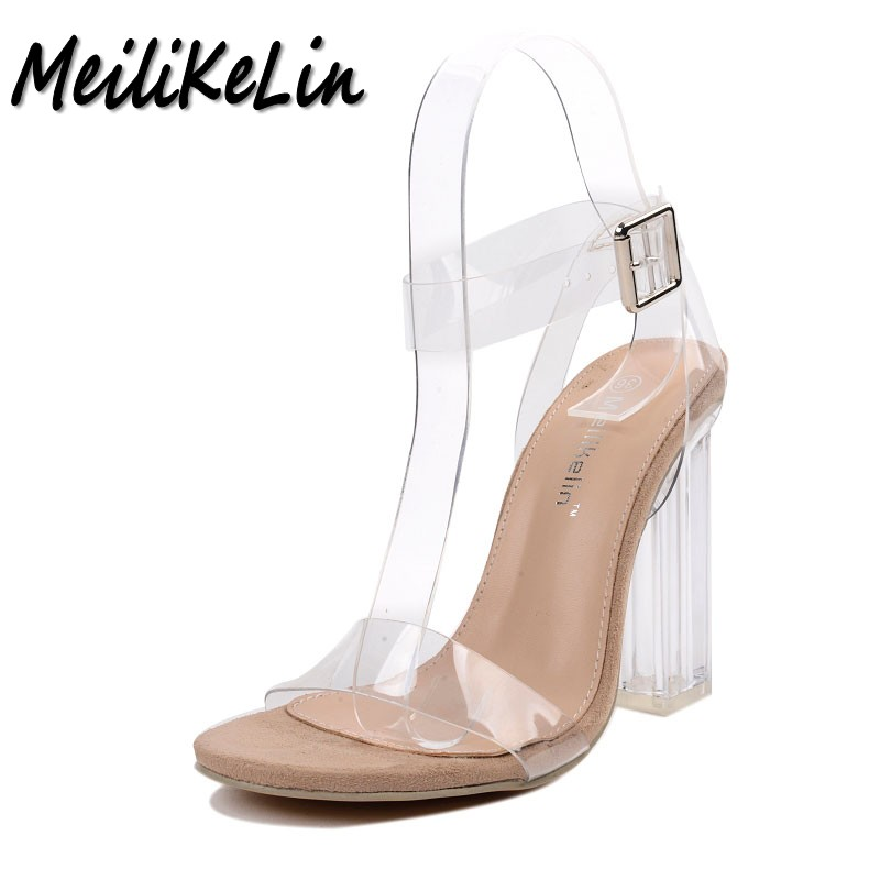 MeiLiKeLin new women sandals ladies pumps thick square high heels shoes woman Crystal Clear Transparent ankle strap party shoes new fashion women casual shoes women sandals 2016 thick high square heels sandals black flock pumps