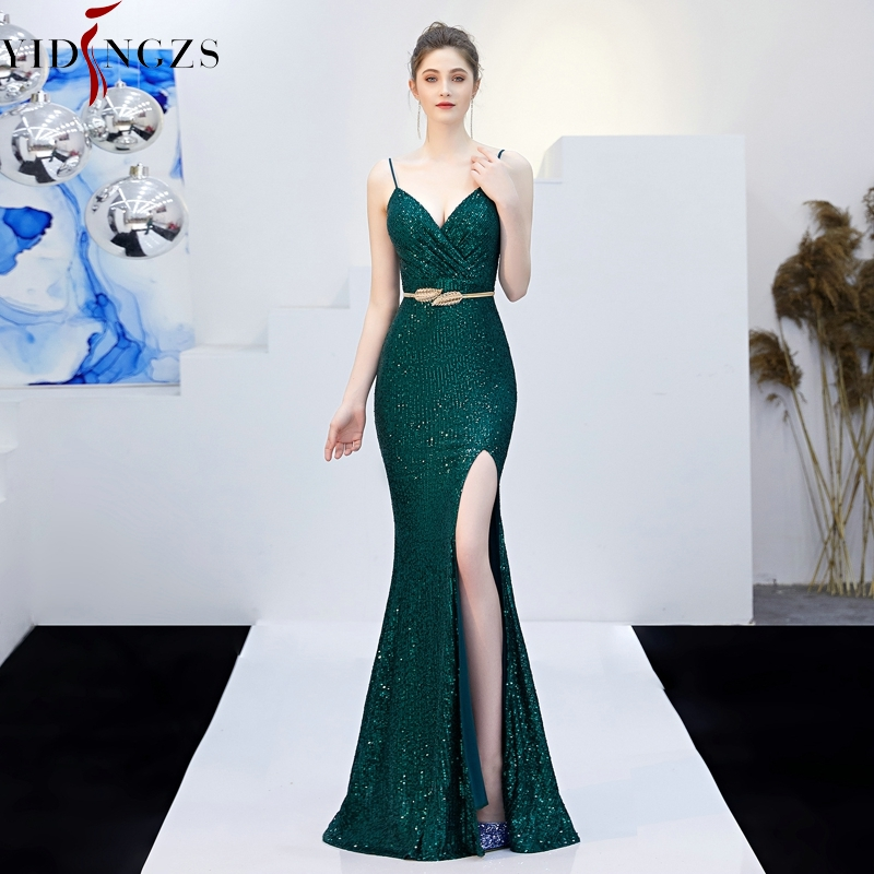 YIDINGZS Sexy V neck Split Long Prom Dress Strap Sequins Evening Party Dress Green Black Navy
