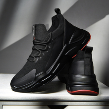 SUROM Brand Sneakers Men Black Lace Up Mens Shoes Casual Breathable Lightweight Mesh Fashion Flats Outdoor Non-slip