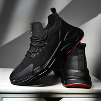 SUROM Brand Sneakers Men Black Lace Up Mens Shoes Casual Breathable Lightweight Mesh Fashion Flats Sneakers Outdoor Non slip