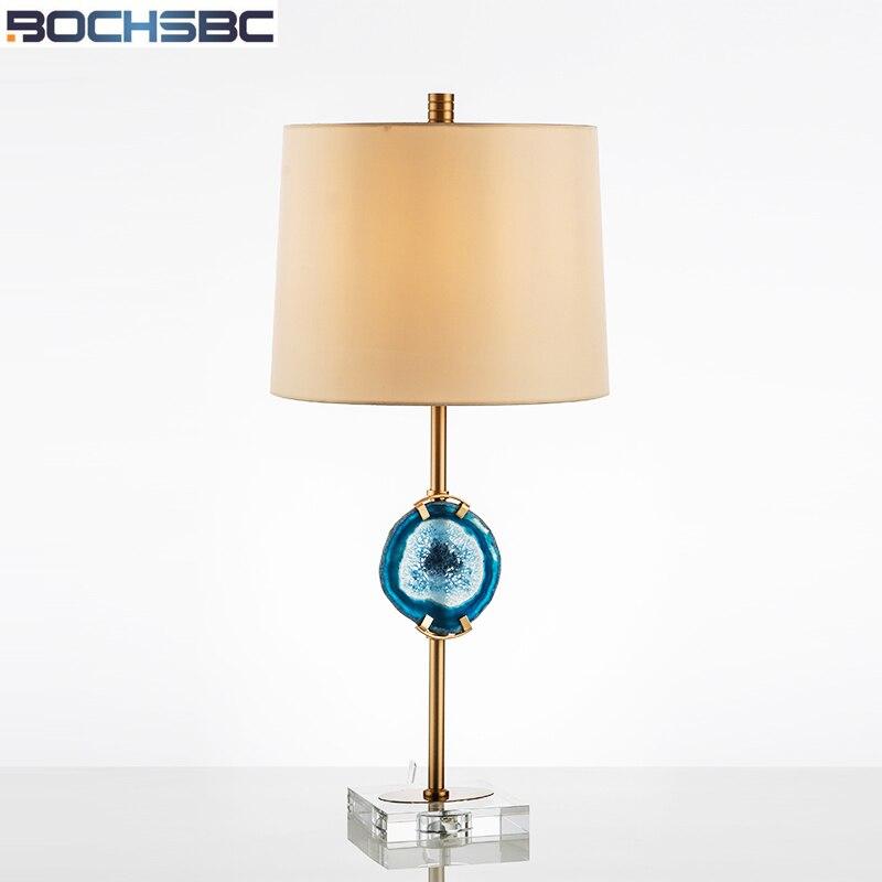 BOCHSBC Creative Agate Table Lamp Modern Minimalist American Designer Desk Lamp Lights for Study Living Room Bedroom Led Light modern minimalist living room floor desk lamp dimming study creative table lamp lighting