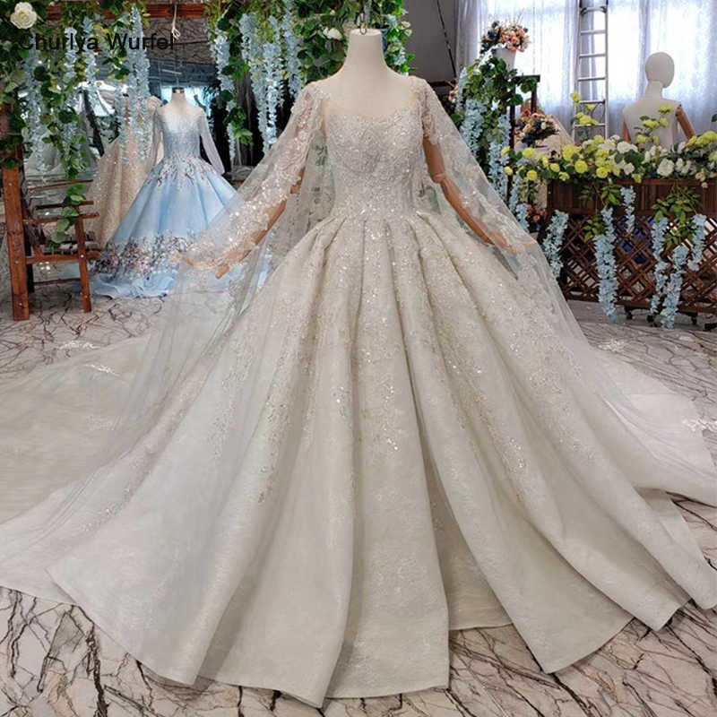 HTL435 luxury wedding dresses with cape big o-neck heavy handwork bridal dress up wedding gowns 2019 new fashion robe de mariee