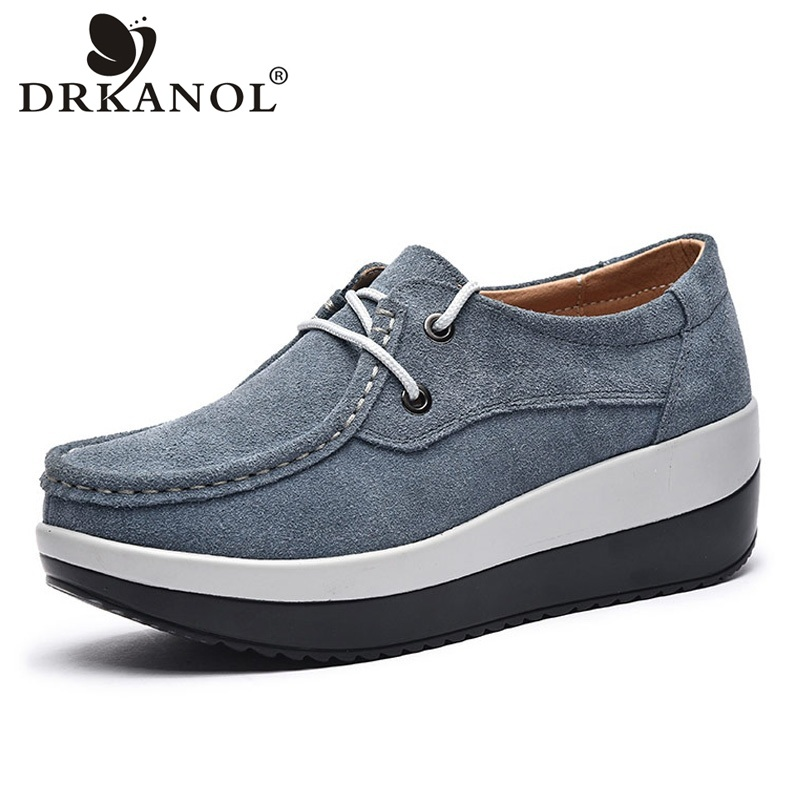 DRKANOL Women Platform Casual Shoes Vintage Style Lace Up Round Toe Cow Suede Flat Platform Shoes Spring Breathable Women Shoes gogc 2018 new style women shoes with hole breathable women flat shoes women sneakers casual shoes summer spring lace up footwear