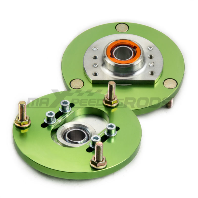 ADJ. Coilover Camber Plate for BMW E36 3 Series M3 318i 323i 318 320 323 325 Coilovers Front Caster Top Mounts Green Pair Green for bmw 3 series e36 318 328 323 325 front coilover strut camber plate top mount green drift front domlager top upper mount