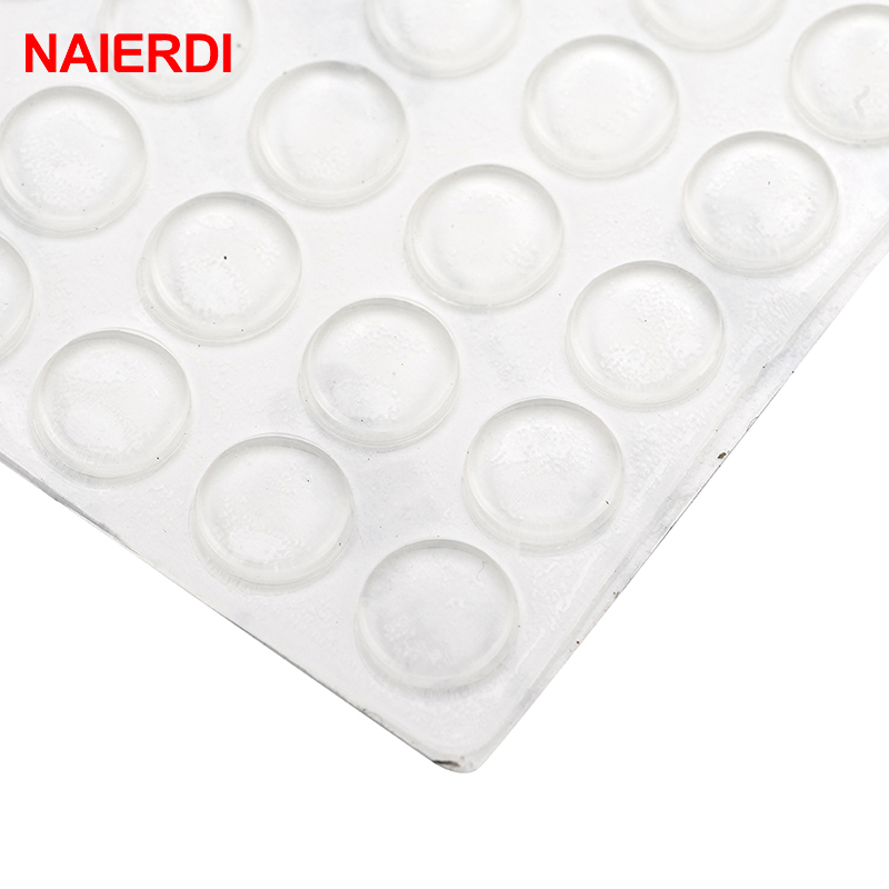Hardware Good 50pcs Door Stopper Silicon Rubber Kitchen 5mm Thickness 11x5mm Cabinet Self Adhesive Stop Damper Buffer Pad Furniture Hardware