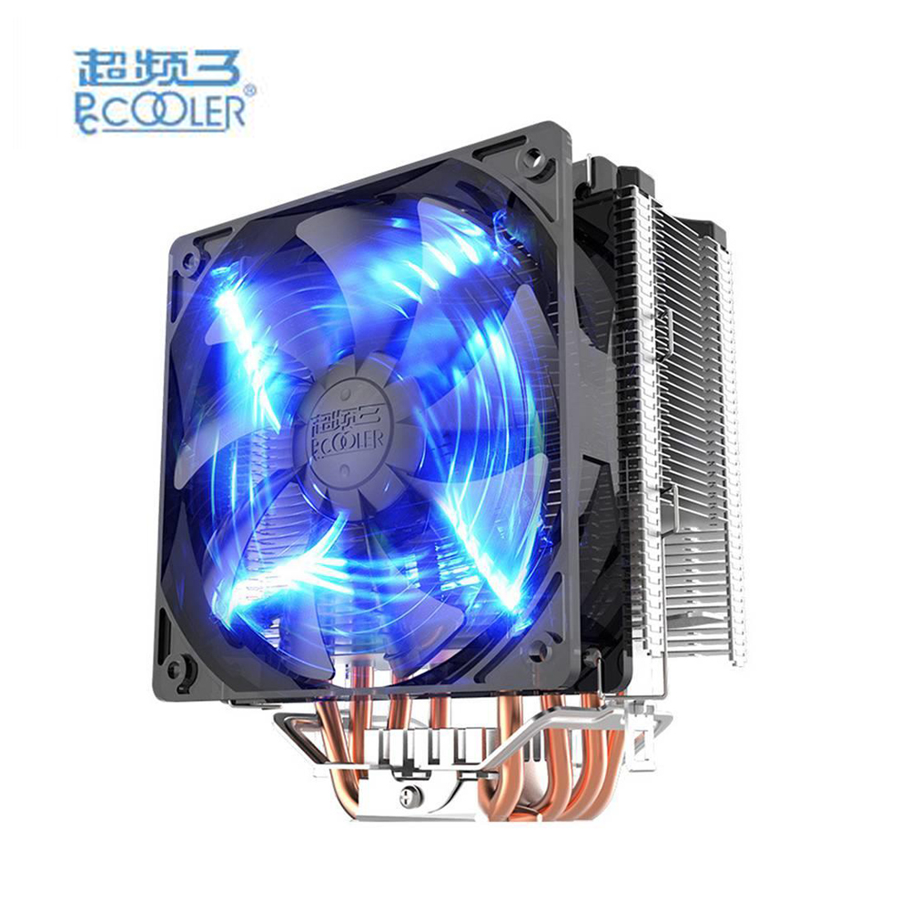 PCCOOLER X5 Copper & Aluminum Mute Bionic Design CPU Cooler Fan 4 Lines Heatpipe 12CM 4 pin LED Heat Pipes for AMD AM3 pccooler donghai x5 4 pin cooling fan blue led copper computer case cpu cooler fans for intel lga 115x 775 1151 for amd 754