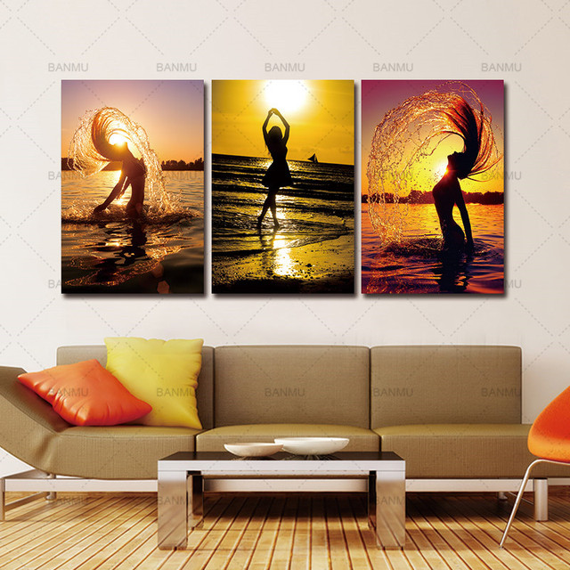 canvas prints for living room entertainment center ideas painting home decor wall pictures 5 piece art sunset beach nude women oil