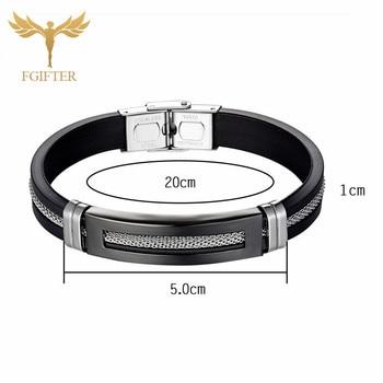 Black Stainless Steel Bracelets Bangles Black Rubber Cuff Bracelet With Chain Men Wristband Bangle 1