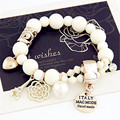 Lemon Value Fashion Charms Beads Crystal Bracelet Vintage Punk Elastic Imitation Pearl Bracelets Women Jewelry Pulseras D050