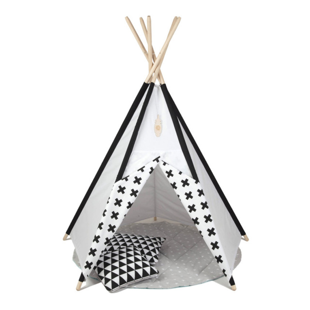 Black ad white splicing design kids play tent indian teepee children playhouse children play room teepee  sc 1 st  AliExpress.com & Black ad white splicing design kids play tent indian teepee ...