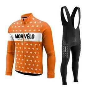 Image 2 - 2018 Morvelo 春サイクリングセットサイクリングジャージビブパンツロング秋ロードバイク自転車服 mtb mallot ropa ciclismo hombre