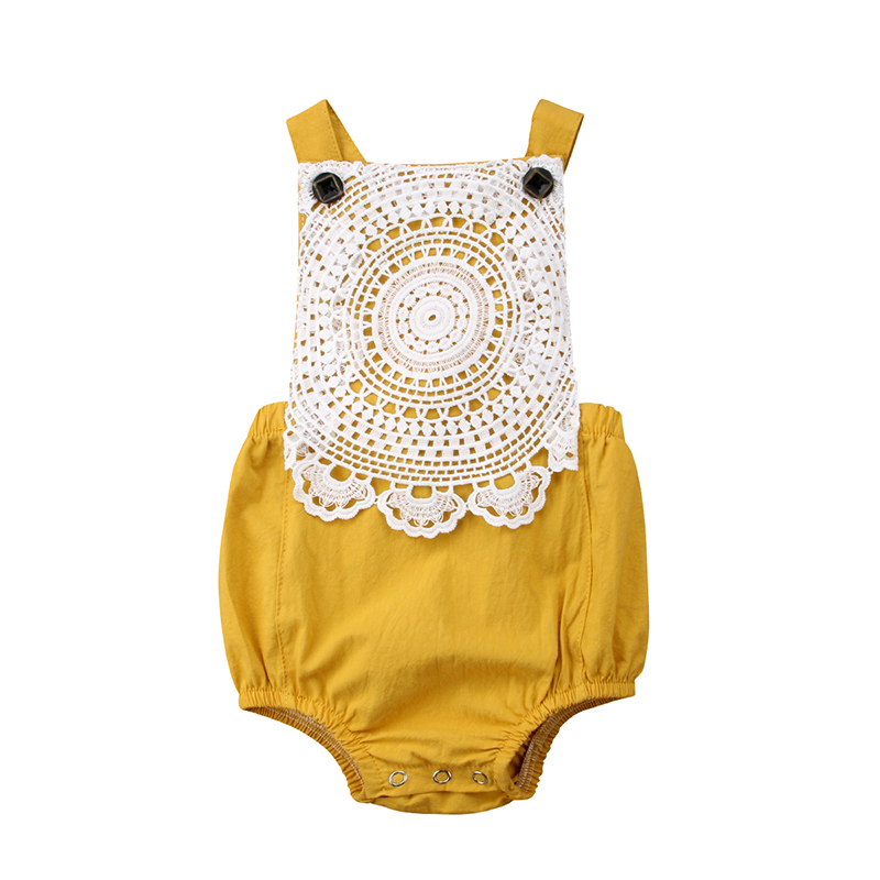 6473a66dc326 Newborn Toddler Baby Girls Cotton Romper Backless Yellow Jumpsuit ...