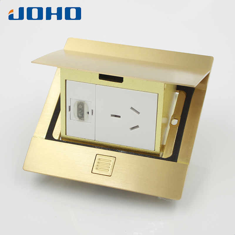 JOHO Residential/General-Purpose Brass Panel Slow Pop Up Floor Socket Box with 10A Australian Socket And HDMI Convenience