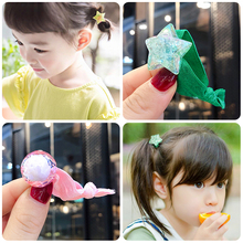 Korea Girl Candy Colors Glass Ball Nylon 3CM Rubber Bands Children Safe Elastic Hair Ponytail Holder Kids Accessories