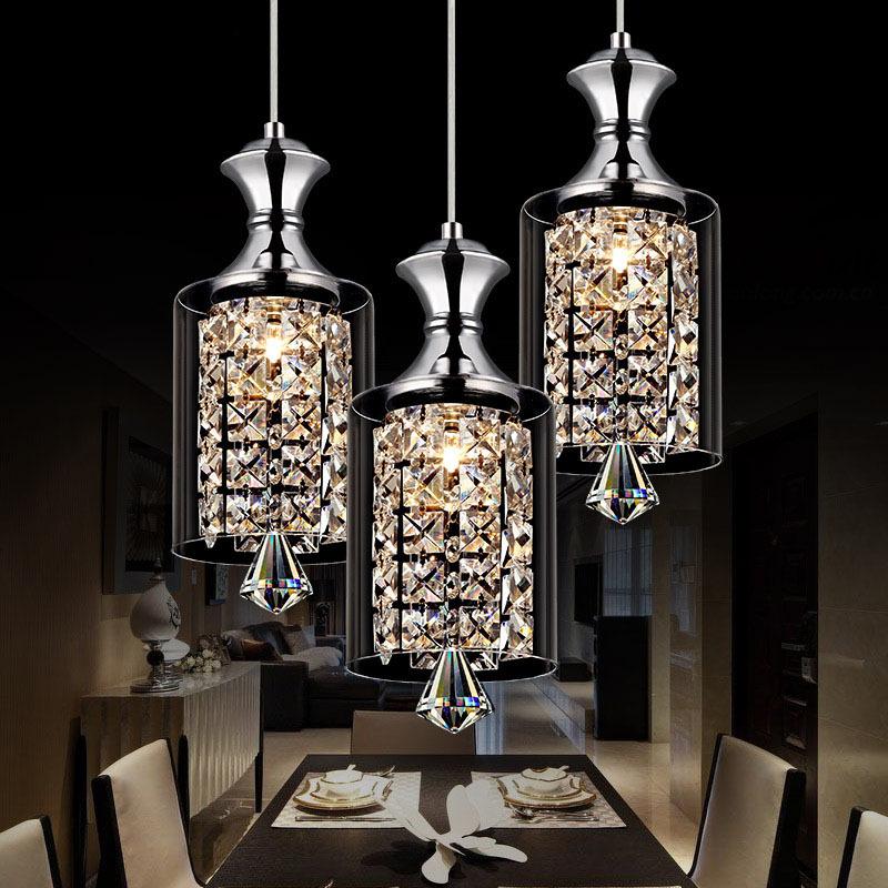 Modern Pendant Chandelier 15w Led Crystal Lamp Three Head Disc Tray And Rectangular Plate Optional Free Shipping In Lights From