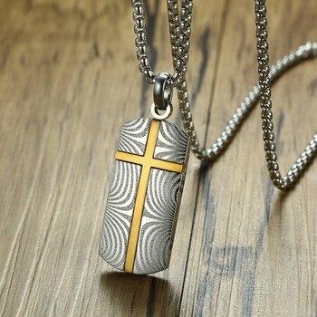 1adffcc23b5e Caballeros de acero de Damasco estilo de Etiqueta de perro colgante collar para  hombres decorar accesorios