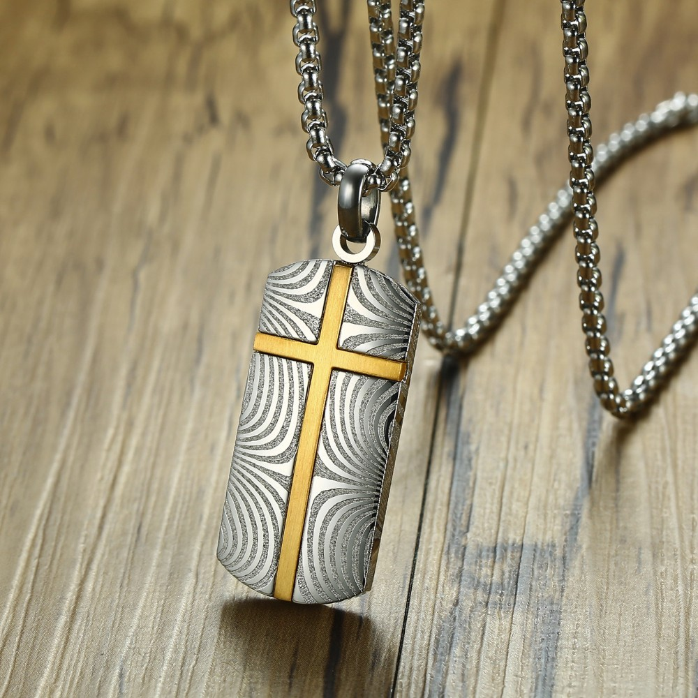 Gents Damascus Steel Dog Tag Style Pendant Necklace for Men Decorate Jewelry Accessories Gift for Him стоимость