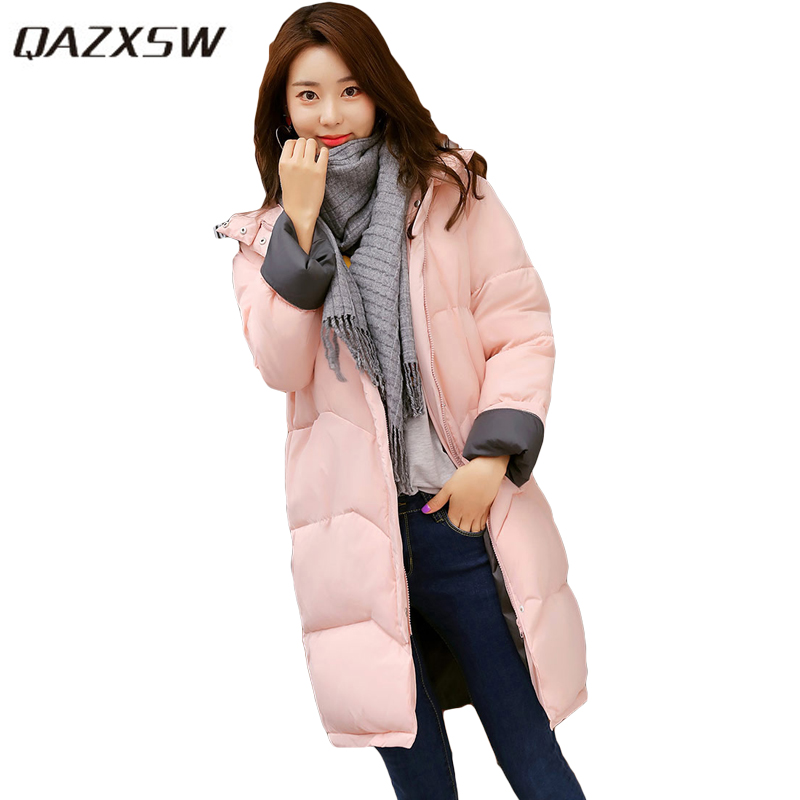QAZXSW 2017 New Winter Cotton Coats Women Padded Jacket For Girls Thick Loose Warm Outwear Stand Collar Casual Long Parkas HB251 qazxsw 2017 new winter cotton coats women hooded jackets slim long parkas for girl thick padded warm casual outwear jacket hb333