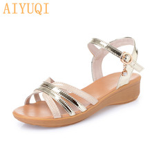 AIYUQI Summer sandals women 2019 new womens summer footwear open toe wedge shoes for fashionable plus size 42 43