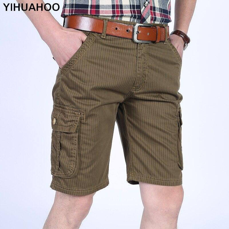 YIHUAHOO 100% Cotton Summer Shorts Men Stripped Knee Length Casual Short Pants With Multi-Pockets Bermuda Cargo Shorts LW-8M16