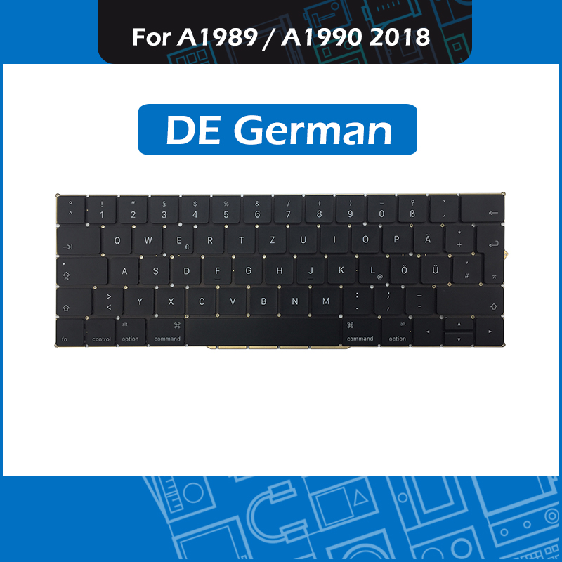 Full New A1989 A1990 DE German Keyboard for Macbook Pro Retina 13 15 A1989 A1990 GER