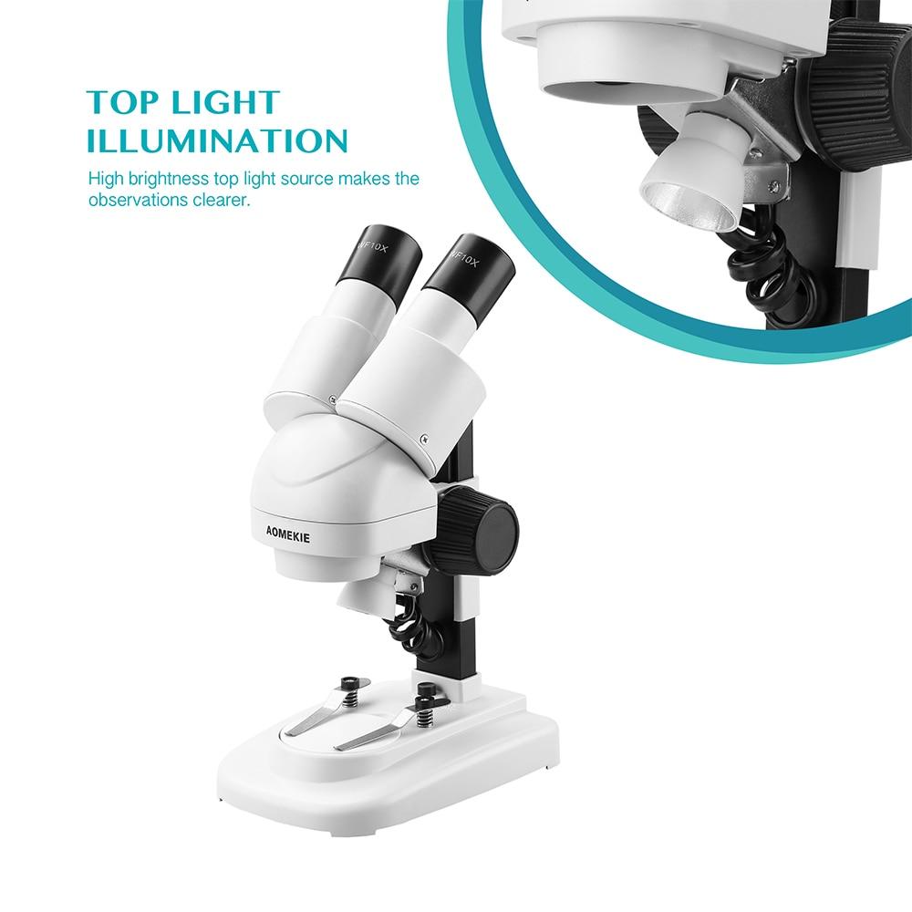 AOMEKIE 20X / 40X stereomikroskopas Binoklis HD Vizija Virš LED - Matavimo prietaisai - Nuotrauka 2