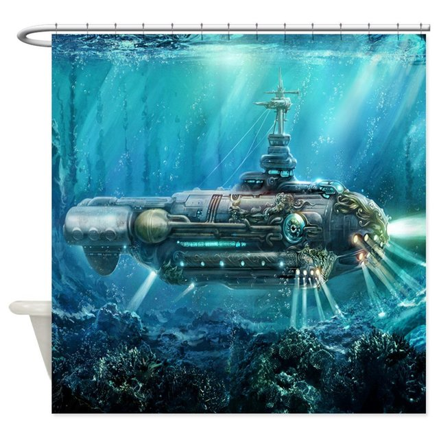 CafePress Steampunk Submarine Decorative Fabric Shower Curtain In