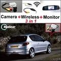 3 in1 Especial Câmera de Visão Traseira Sem Fio + Receptor + Espelho Monitor De Backup Fácil Sistema De Estacionamento Para Peugeot 206 207 306 307 308