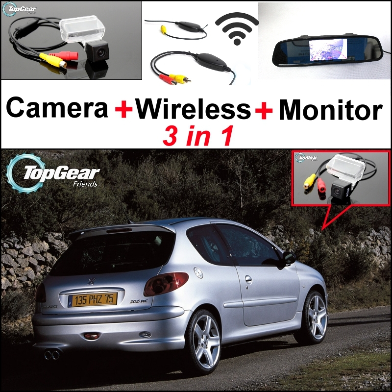 3 in1 Special Rear View Camera + Wireless Receiver + Mirror Monitor Easy Backup Parking System For Peugeot 206 207 306 307 308 foldable car rear monitor color screen black shell wire car rear view camera 4 led for peugeot 206 207 407 307 sedan 307sm