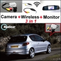 3 in1 Special Rear View Camera + Wireless Receiver + Mirror Monitor Easy Backup Parking System For Peugeot 206 207 306 307 308